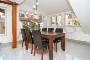 Dining room with great windows - For Rent: 3-bedroom Furnished Apartment - Prague 1 - Stare Mesto, Reznicka Street