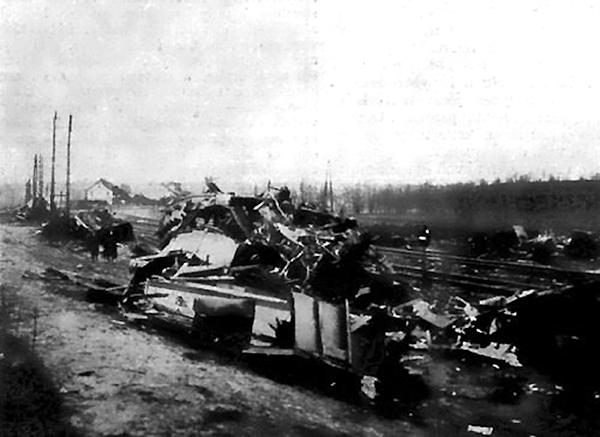 Železniční stanice Herceghalom po nehodě v roce 1916